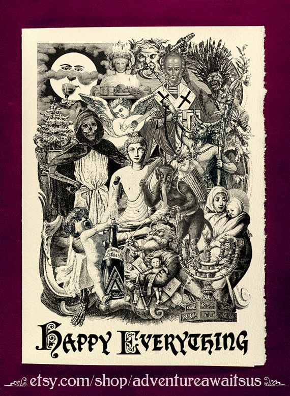 Greeting Card Happy Everything Victorian illustration