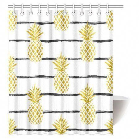 gold pineapple on black shower curtain