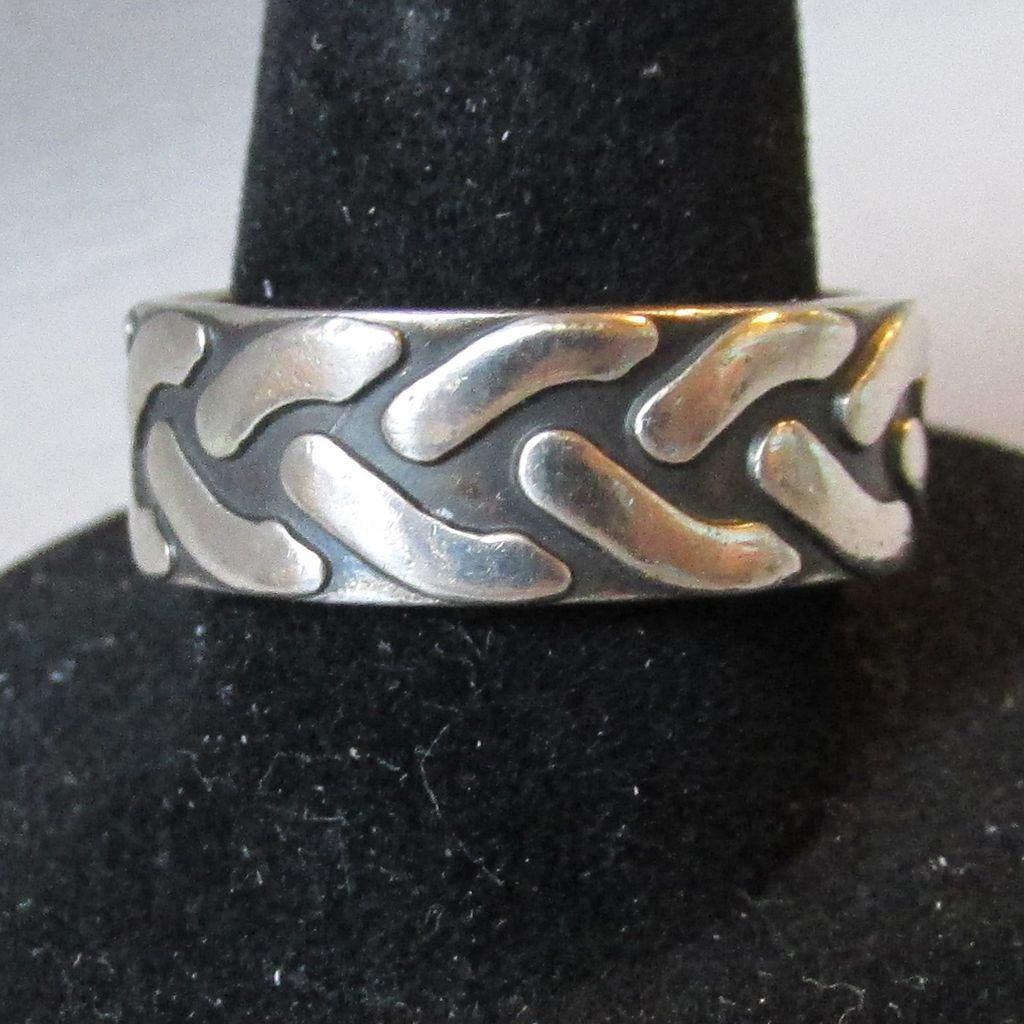 Vintage Mexico Sterling Silver Band Ring with Braid Design, Size 7