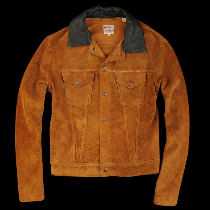 Levi s leather trucker jacket brown for Levis vintage denim shirt 1950 sawtooth slim fit
