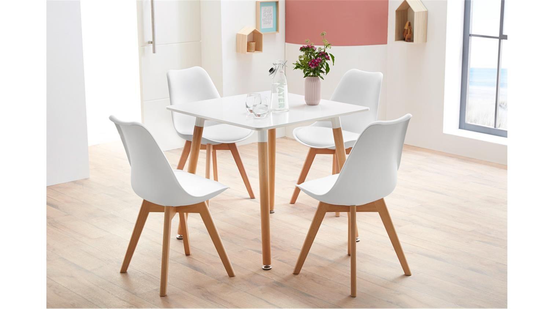Essgruppe Mit Tisch Gronland 80x80 Und 4 Stuhle Borkum Weiss Esszimmer Set Esszimmerstuhle Hausmobel