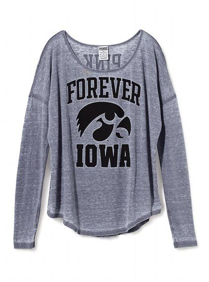 d03ef4cc92567 University of Iowa Long-sleeve Drapey Tee - Victoria's Secret PINK ...