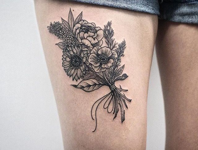 Bouquet Tattoo, Flower Bouquet