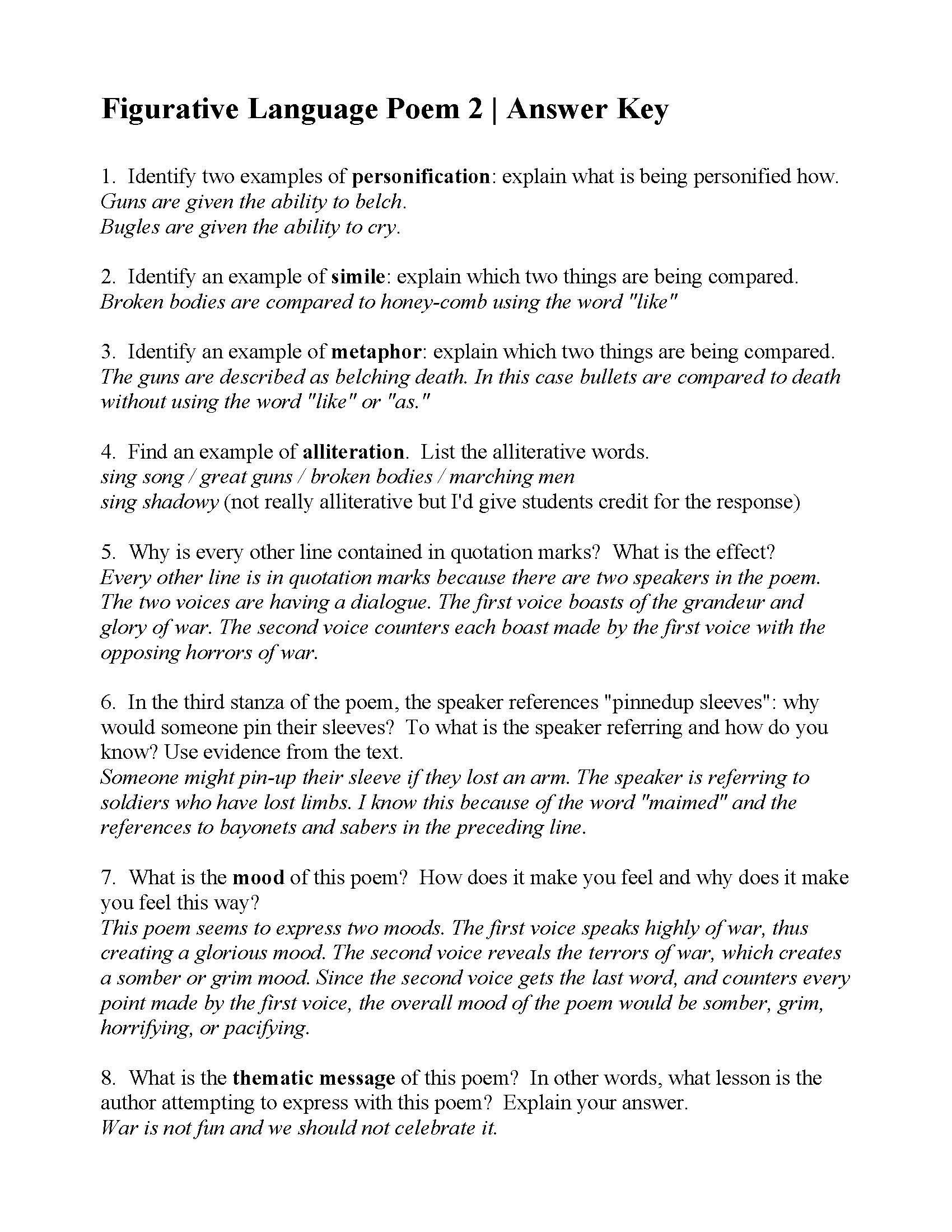 Poetry Worksheet High School Figurative Language Poem 2 I Sing the Battle  by Harry …   Figurative language poems [ 2200 x 1700 Pixel ]