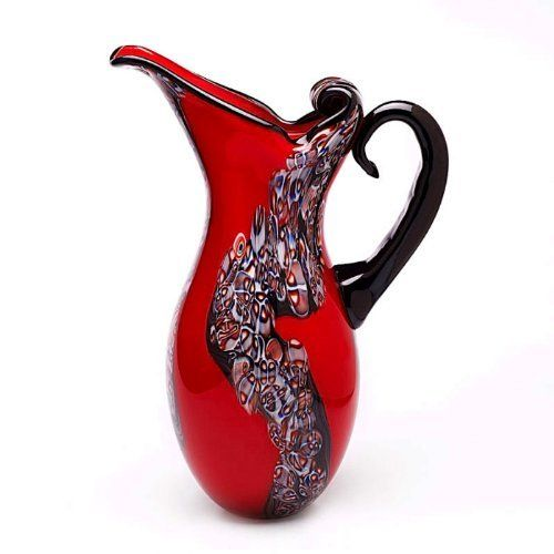 red art glass | Hand Blown Red Art Glass Pitcher Vase 15 Tall from Luxury Lane