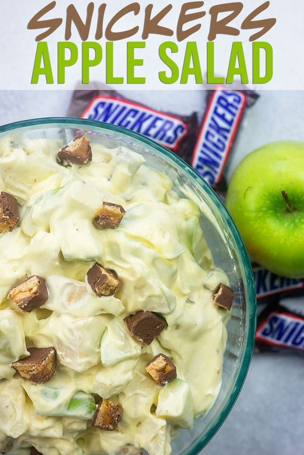 Snickers Apple Salad is a favorite snack, side dish, or dessert at potlucks and ...,  ...