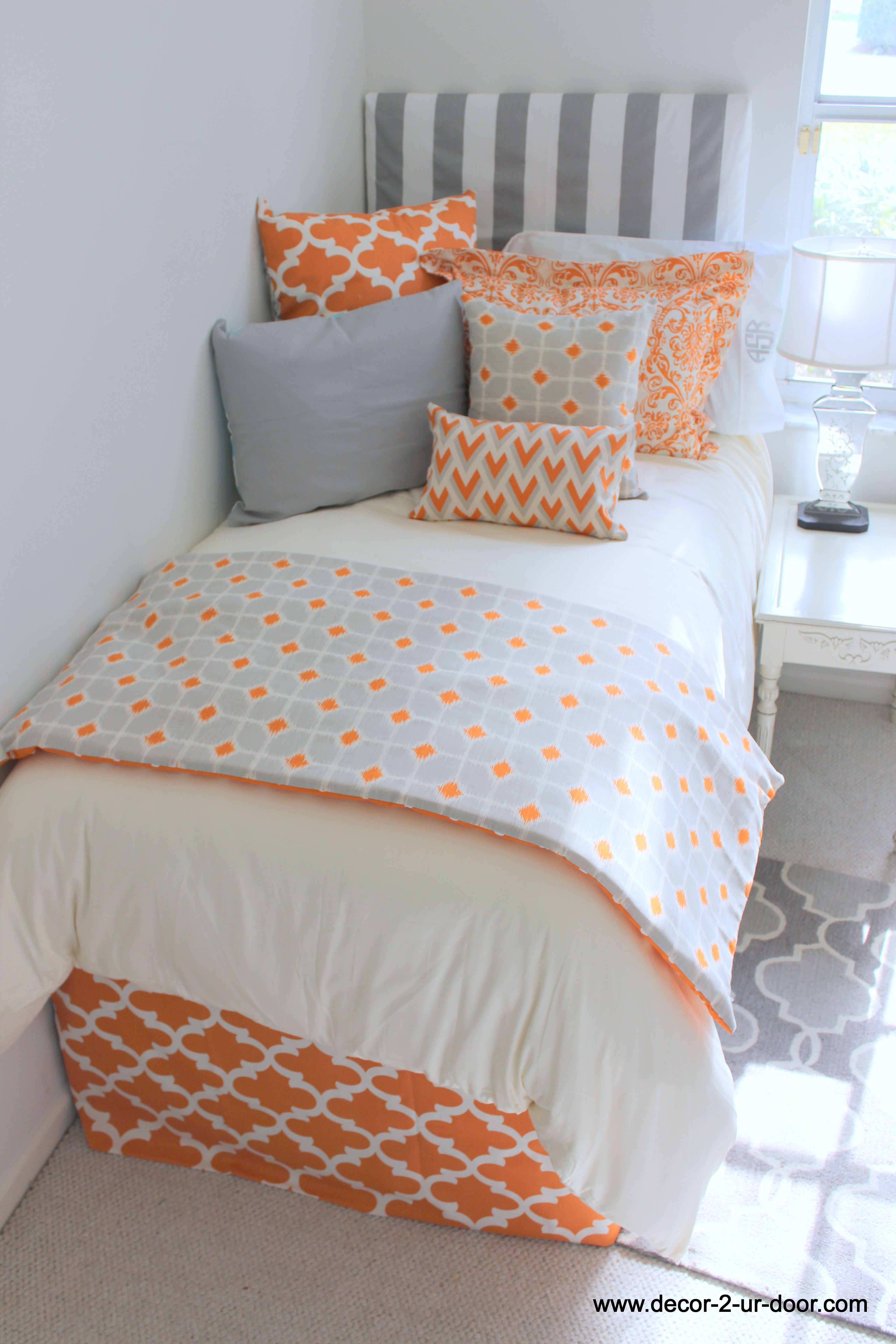 Tangerine and grey designer dorm room bedding new release love the - Best dorm room ideas ...