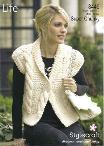 Stylecraft Life Super Chunky Ladies Waistcoat Knitting Pattern 8449