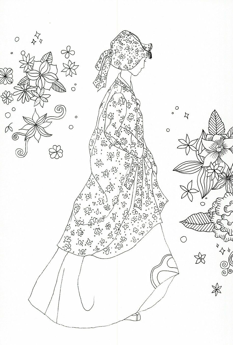 adult coloring page : Korean traditional clothing | @Art 2 ...