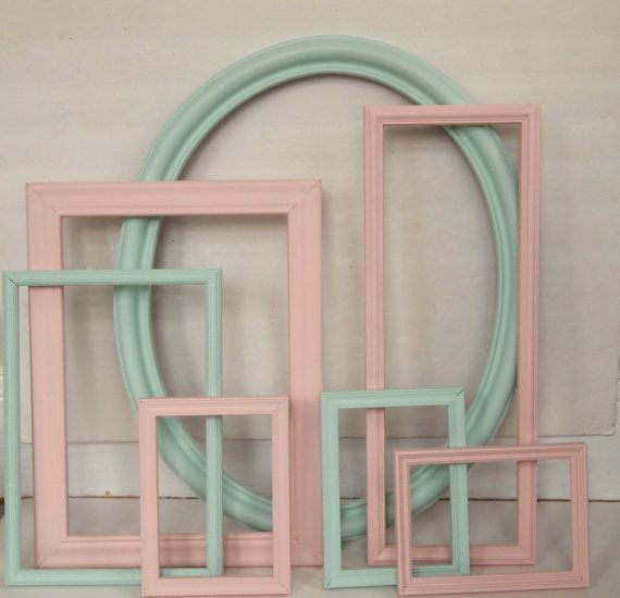 picture frame collection vintage painted mint and peach cottage chic gallery wall home decor - Mint Picture Frames