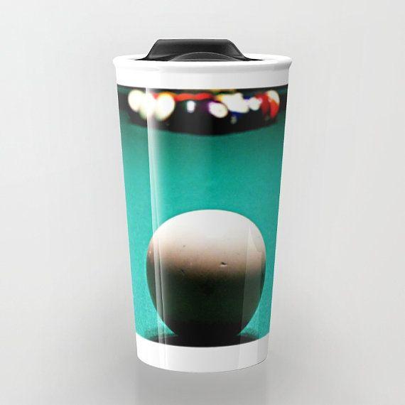 Ceramic Travel Mug Travel Coffee Mug Manly Coffee Mug Billiards Coffee Cup Green Ceramic Mug To Go Mugs To Go Coffee C To Go Coffee Cups Mugs Coffee Mugs
