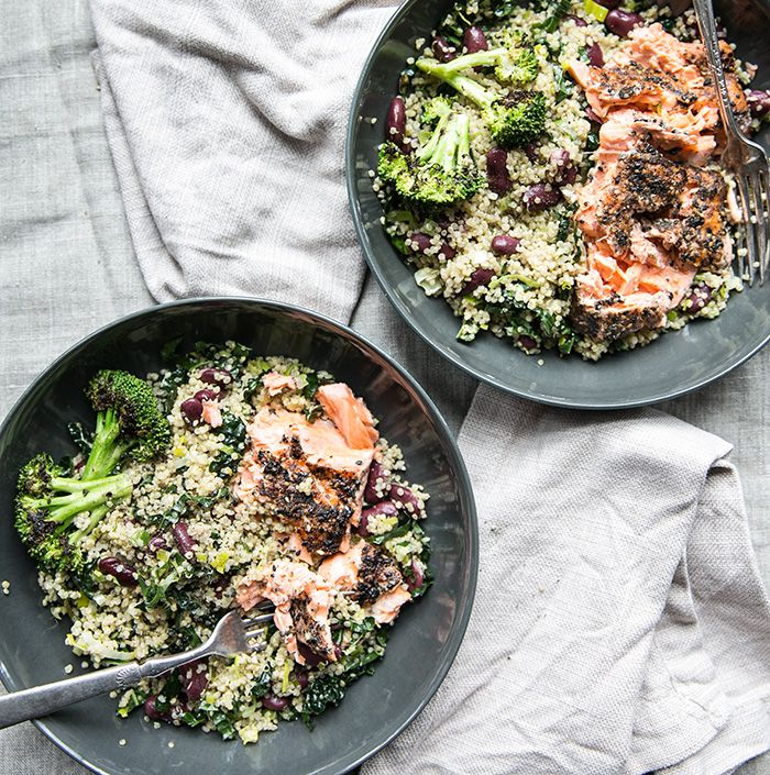 sesame seared wild salmon over a bowl of quinoa, leeks, kale + broccoli — whats cooking good looking