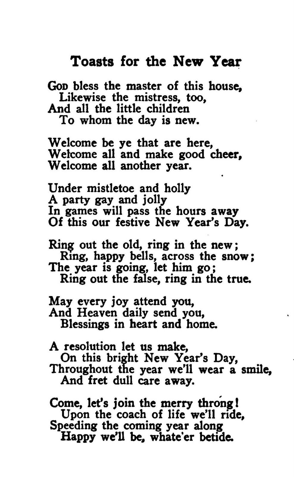 Vintage New Year's poem Happy new year wishes, New year