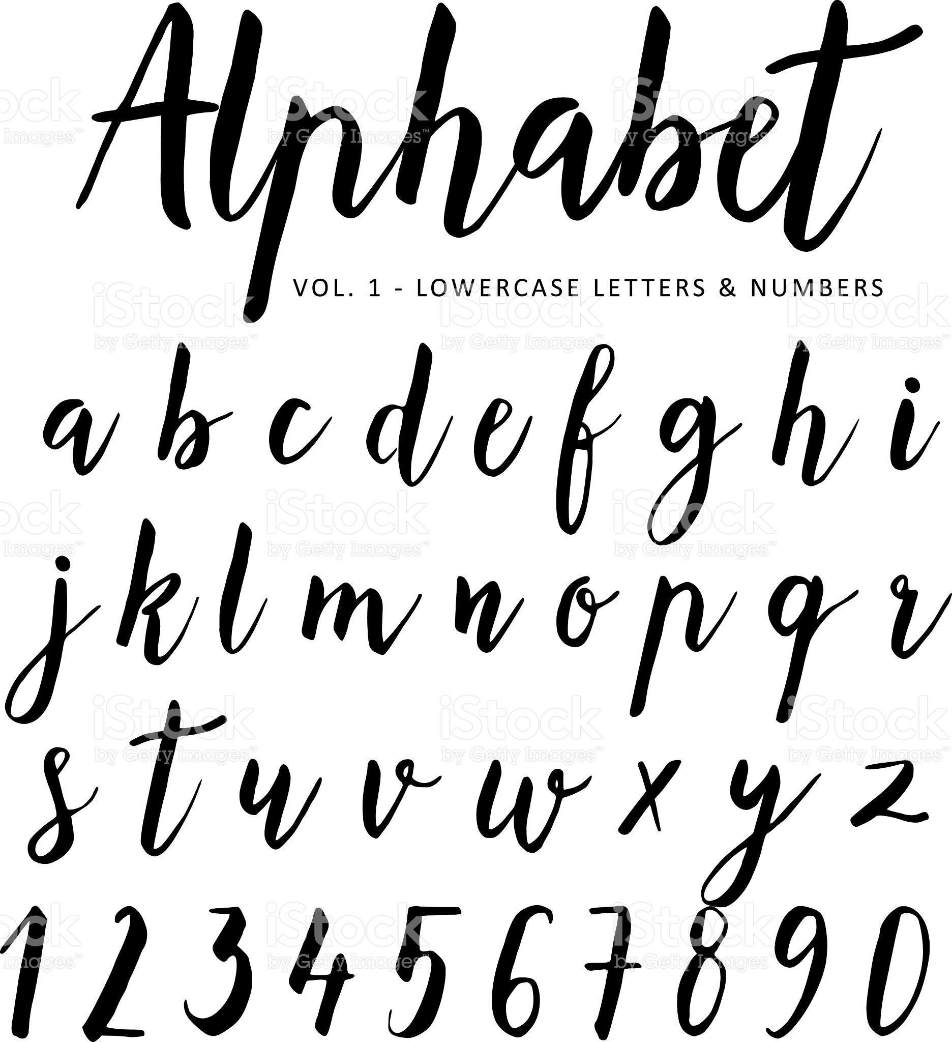 Hand drawn vector alphabet script font brush