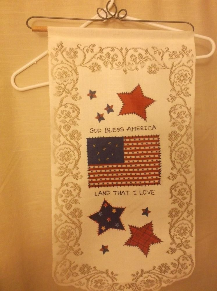 Lace Wall Hanging God Bless America 25\