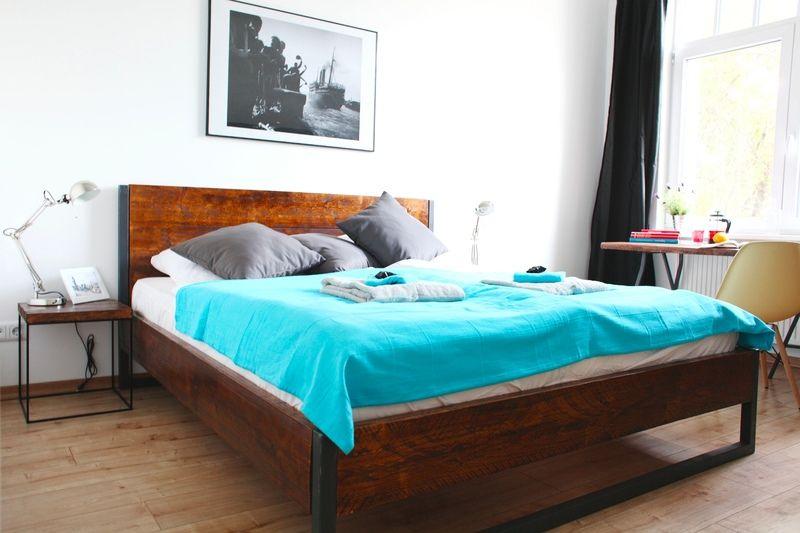 LOFT VINTAGE INDUSTRIAL BETT 180x200 HOLZ + STAHL   Schlafzimmer ...