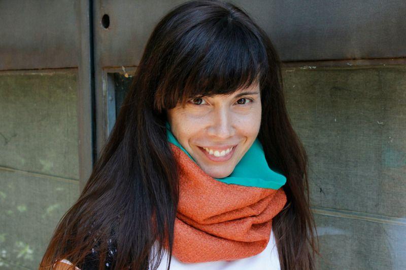 Cuello tubular reversible - Naranja y verde de LoLahn Handmade - Bolsos, mochilas, cuellos, sombreros y gorras. por DaWanda.com