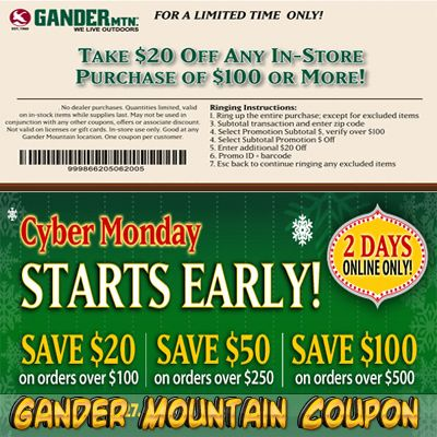 image about Gander Mountain Printable Coupon called Gander Mountain Coupon Gander Mountain Coupon No cost