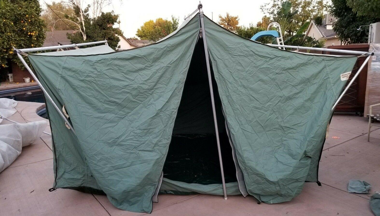 Vintage Canvas Diamond Brand Tent Canopy wPoles Shelter 3500