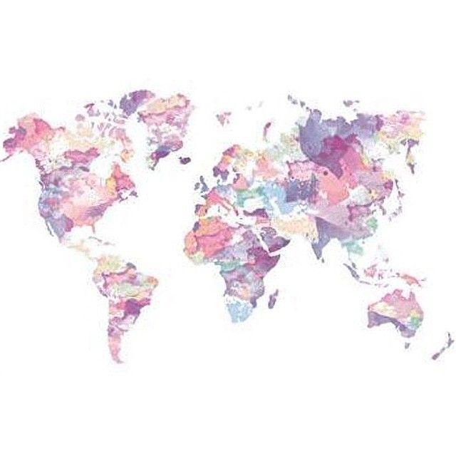 Dans ma tte tout est rose vous cest de quelle couleur pink watercolour world map pink art print by clover ms gumiabroncs Image collections