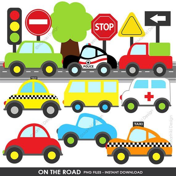 Transportation Clip Art On The Road Cute Cars Clipart Road Sign