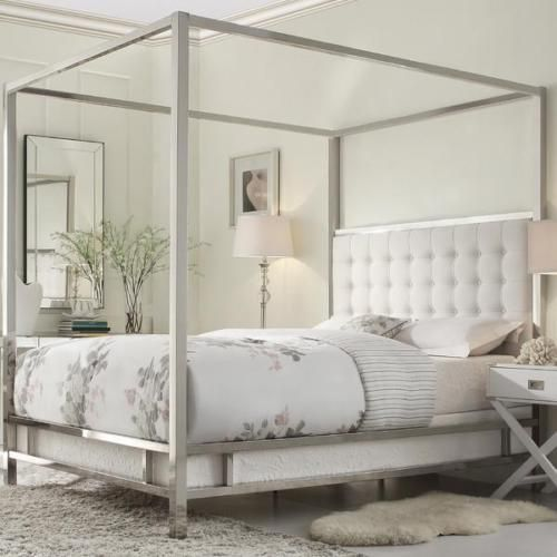 King Size Canopy Bed Chrome Metal Frame Tufted Headboard Off White ...