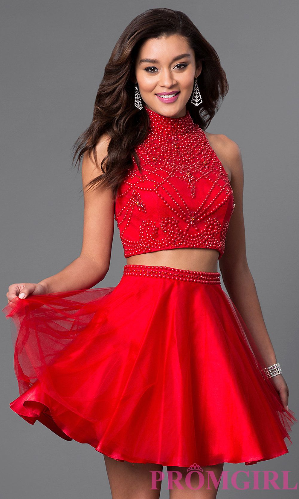 Red Two Piece Short Dress in 2019  f9d4f4d78894