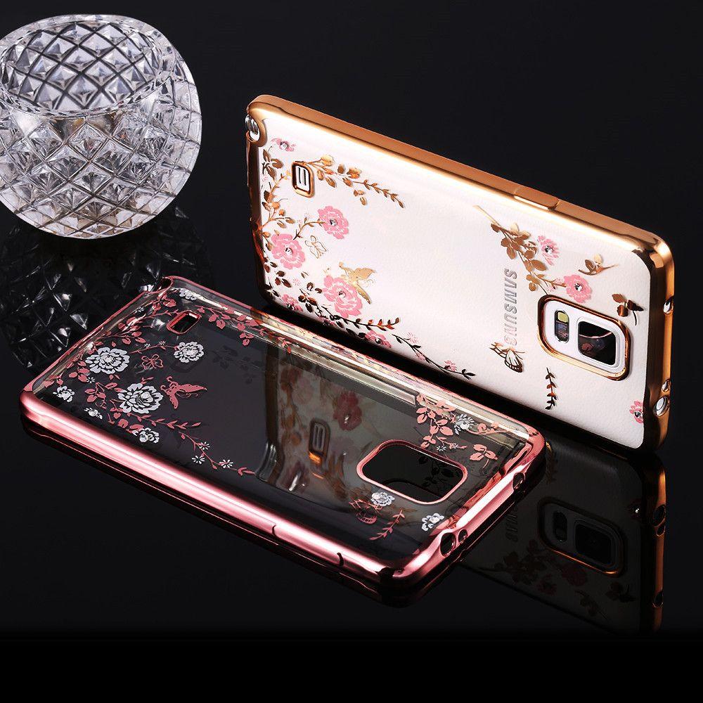 FLOVEME Note 4 Bling Blossom Flower Back Cover Shiny Diamond Flower Shell Soft TPU Plating Frame Case For Samsung Galaxy Note 4