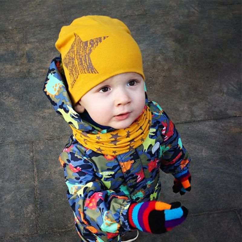 Star Printed Baby Hat and Scarf Set Cotton Kids Beanie Hats Spring Baby Cap Set