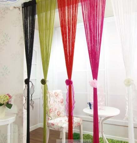 String Curtain With Bead Sequin Spangle Fringe Panel Door Divider Burgundy