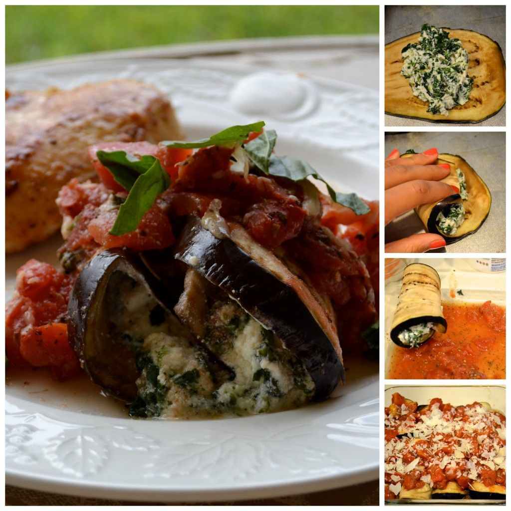 Healthy Eggplant Rollups for vegetarian summer dinners. Step by Step picture guide.