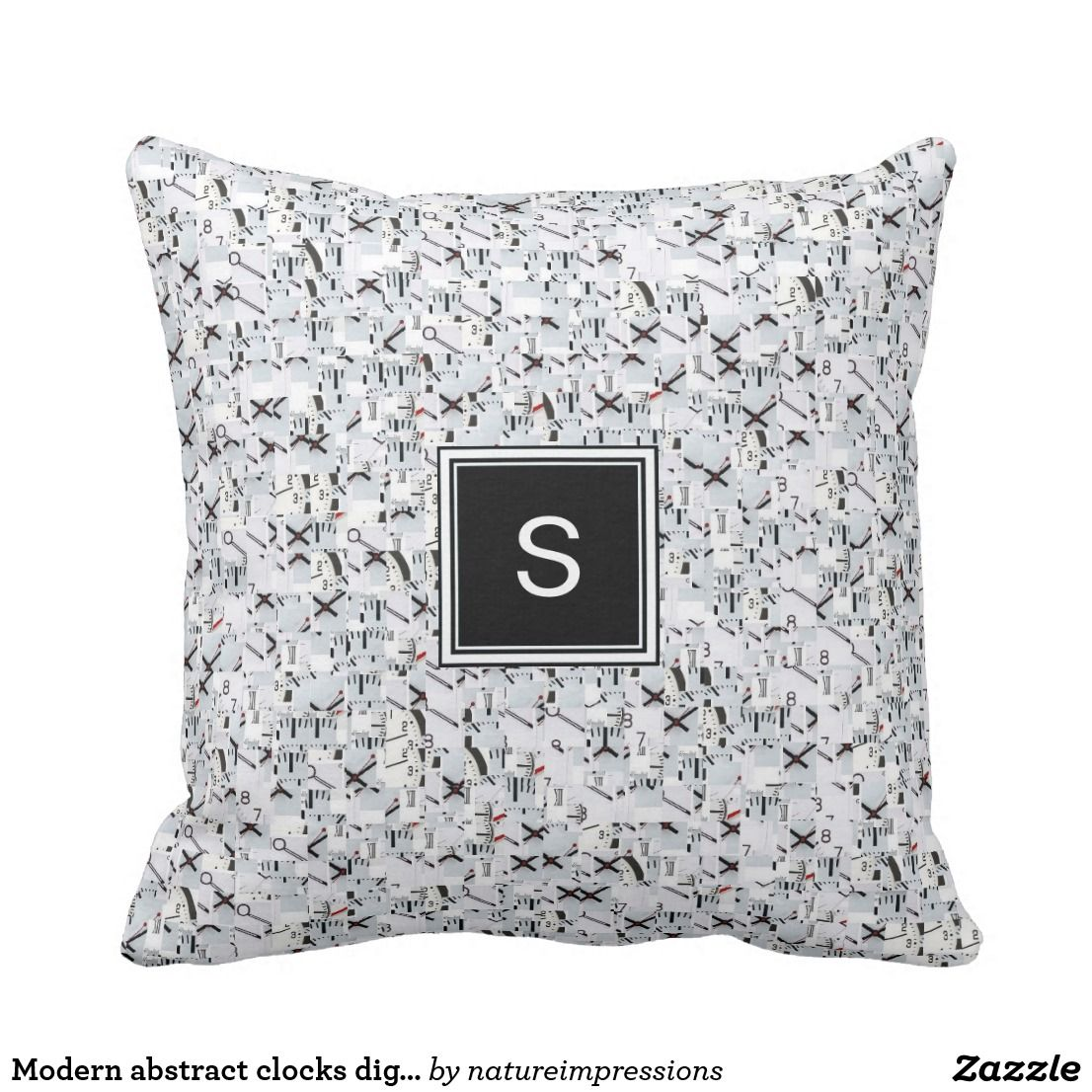 Modern abstract clocks digital patterned monogram throw pillow in