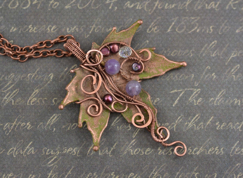 Real Copper Maple Leaf Necklace Electroformed Natural Leaf Copper ...
