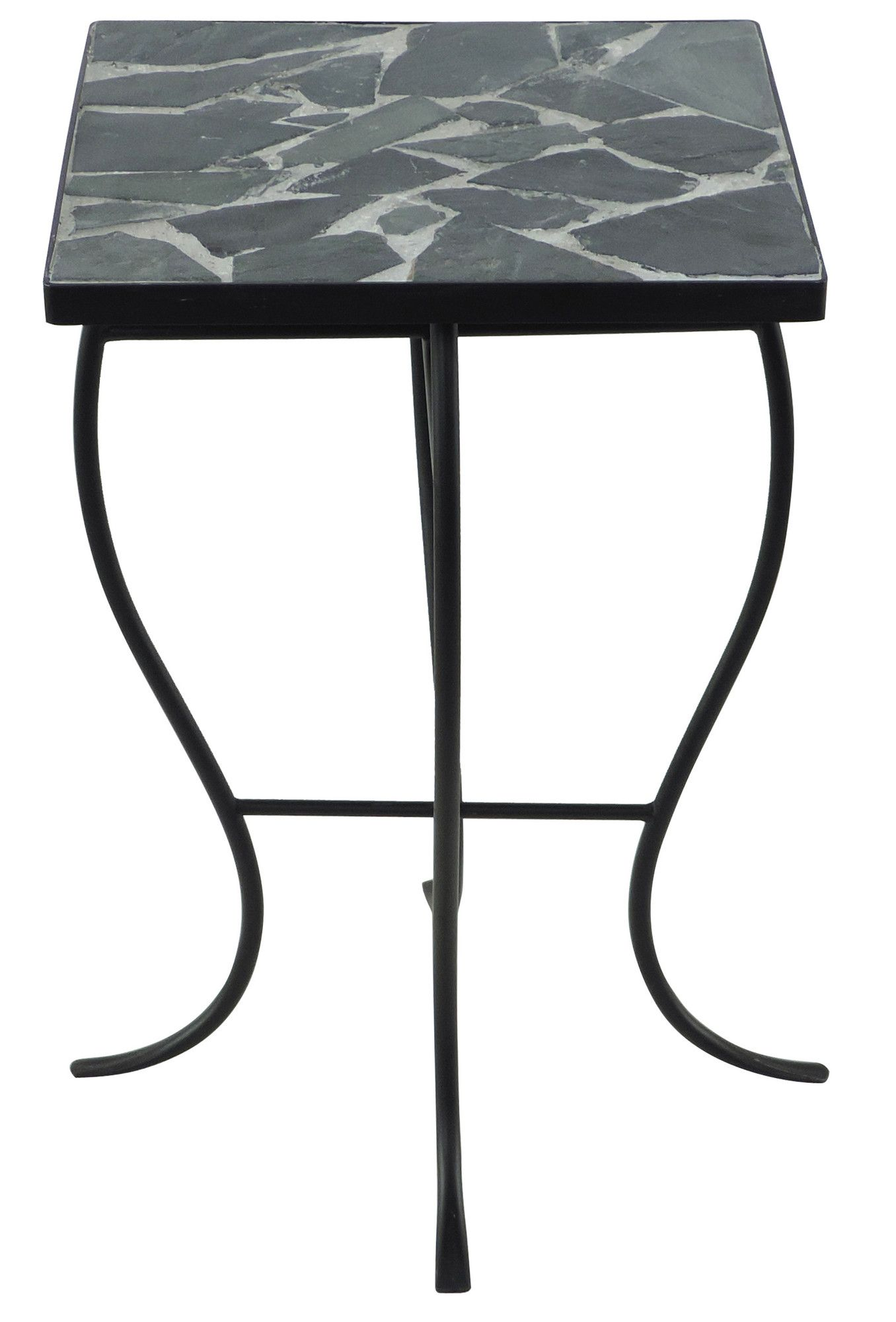 Square Stone Top Metal End Table With Images Metal End Tables