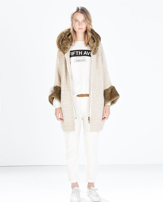 FAUX FUR JACKET WITH HOOD from Zara