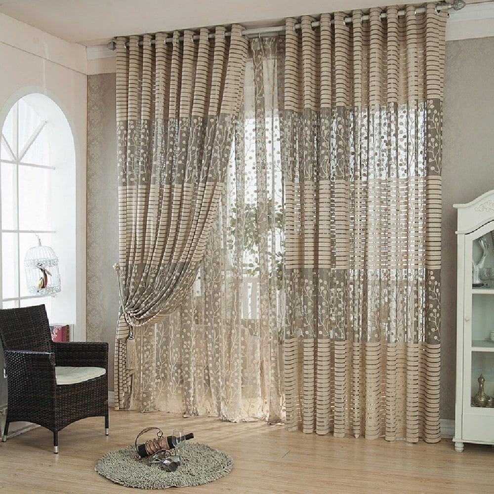 Window ideas living room  high grade jacquard curtains window screens hollow ventilation