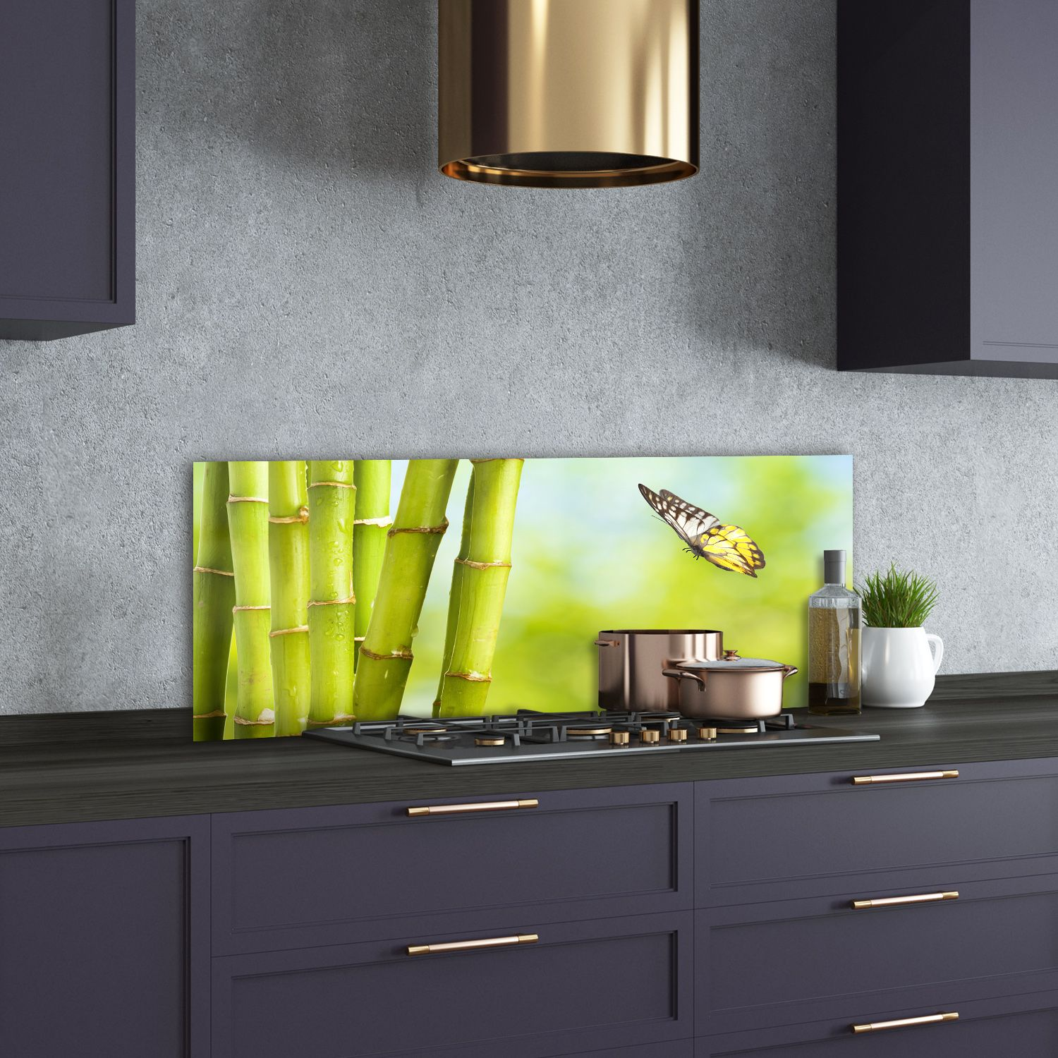 Bamboo and Butterfly Glass Choppingboard
