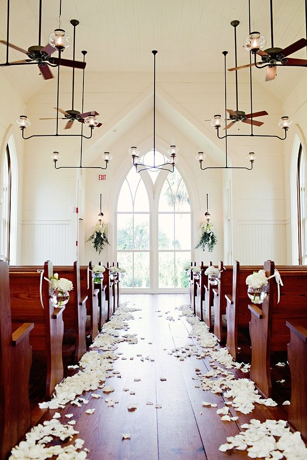 Beautifully Decorated Church Wedding Love The Petals In Aisle