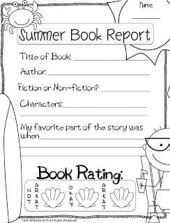Summer Book Reports Freebie  Homeschool And School