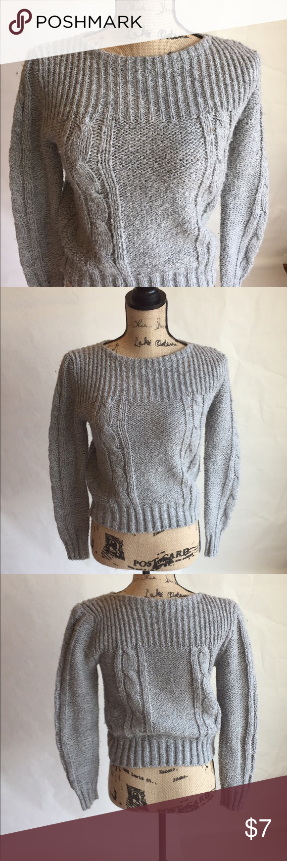 Boatneck vintage crop knit grey cozy sweater Great condition grey chunky knit vintage sweater Vintage Sweaters