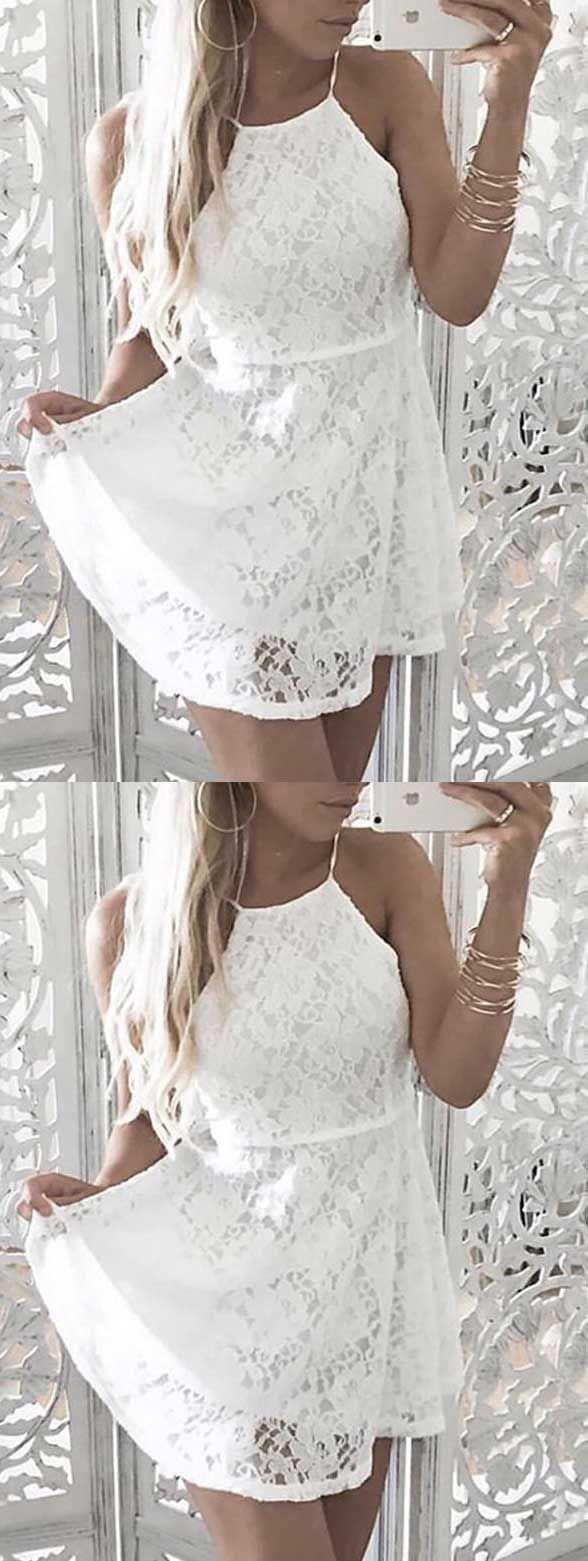 Simple White Lace Homecoming Dresses White Lace Homecoming Dresses Spaghetti Straps Dress Women Fashion Dress Satin Homecoming Dress Homecoming Dresses Dresses [ 1561 x 588 Pixel ]