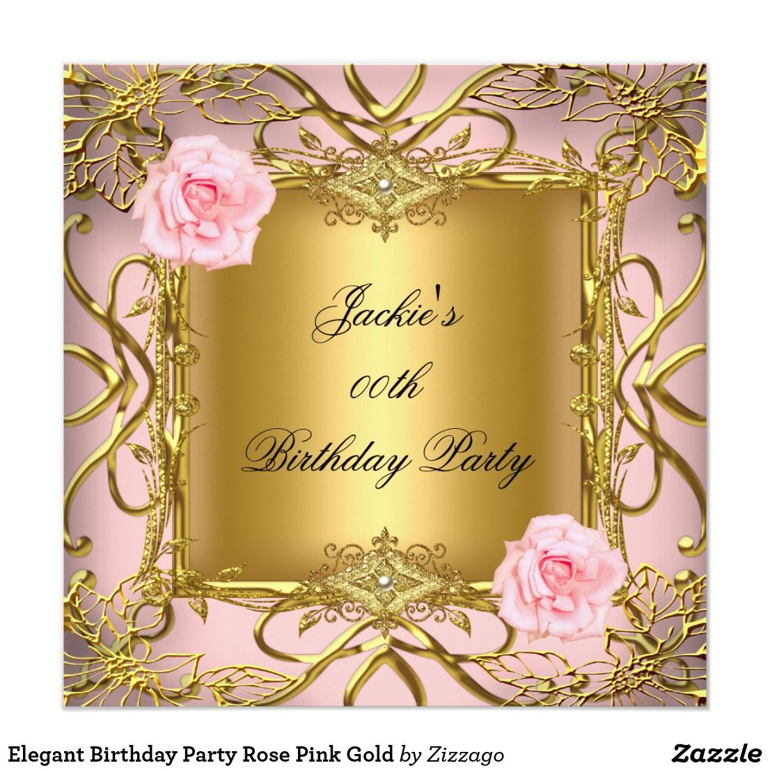 Elegant Birthday Party Rose Pink Gold Card Invite Invitation Modern Simple Clean Design Adult