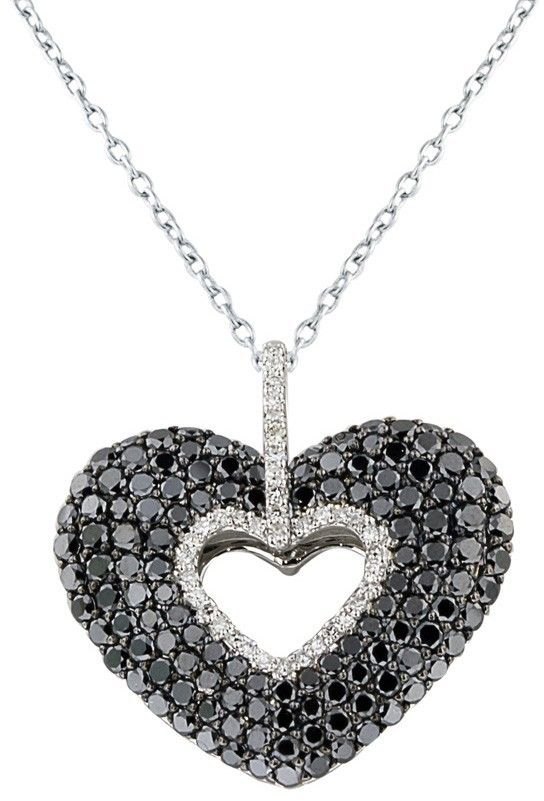 a524bdd79ce37f Effy 14K White Gold Black and White Diamond Heart Pendant, 2.45 TCW ...