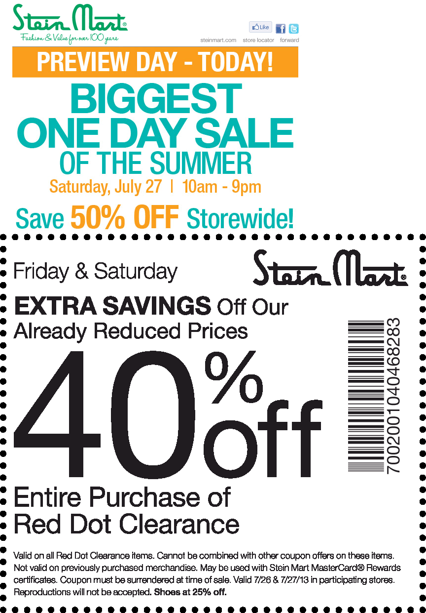 Pinned July 26th  Everything is 50% off Saturday at Stein Mart coupon via  The Coupons App 1a487a32b
