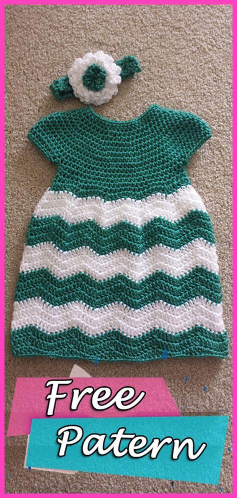 Chevron Chic Baby Dress Free Patten Crochet Crochet Freepattern