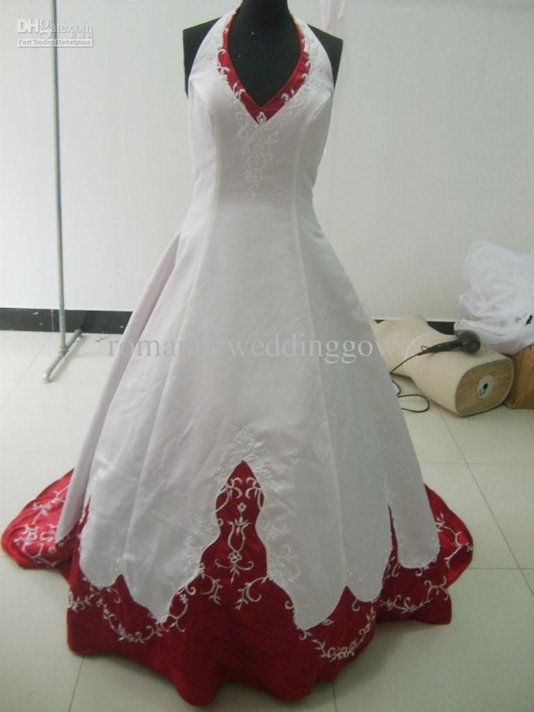 Wholesale A Line Wedding Dresses Buy White And Wine Red Wedding