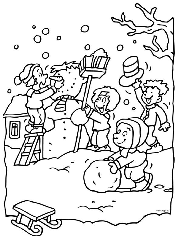sneeuwpop maken kleurplaten sneeuwpop winter