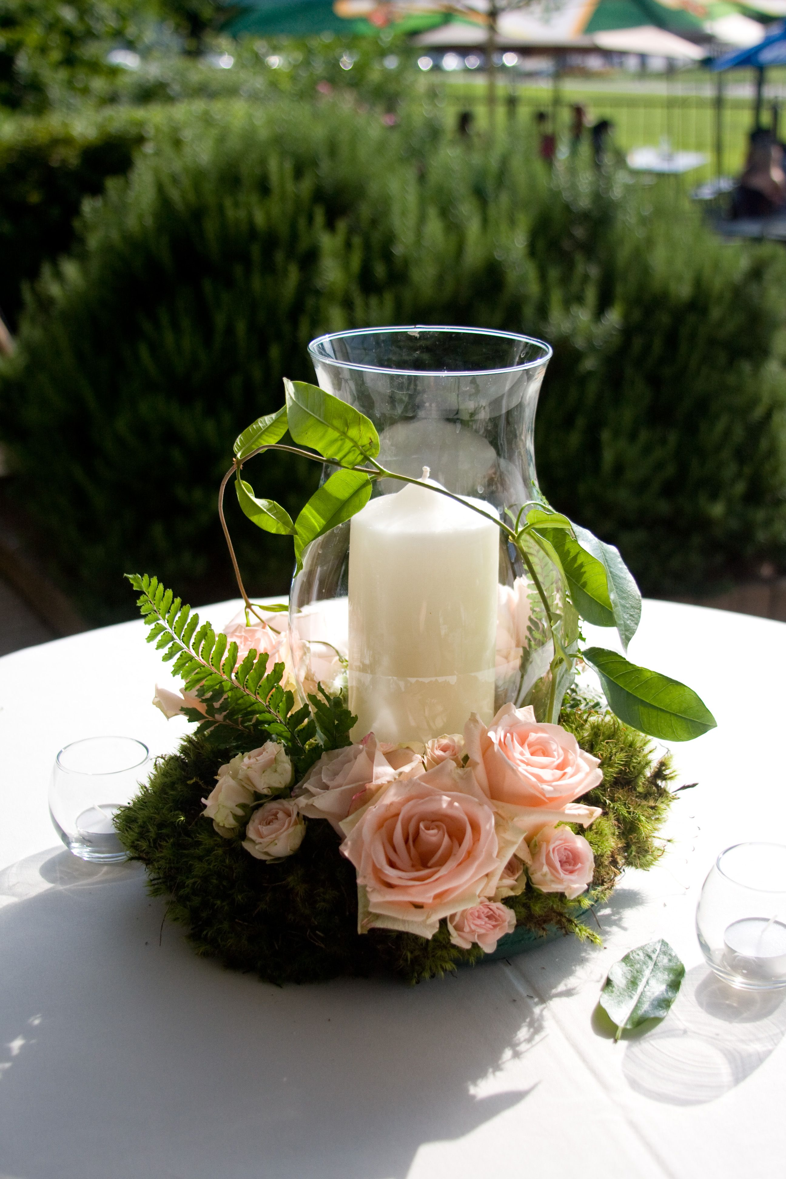 Reception Decor Hurricane Globe And Pillar Candle With Floral