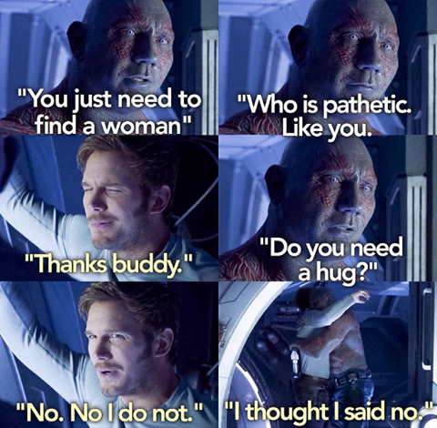 Drax And Star Lord In Guardians Of The Galaxy Vol 2 2017 Marvel Jokes Superhero Movies Guardians Of The Galaxy