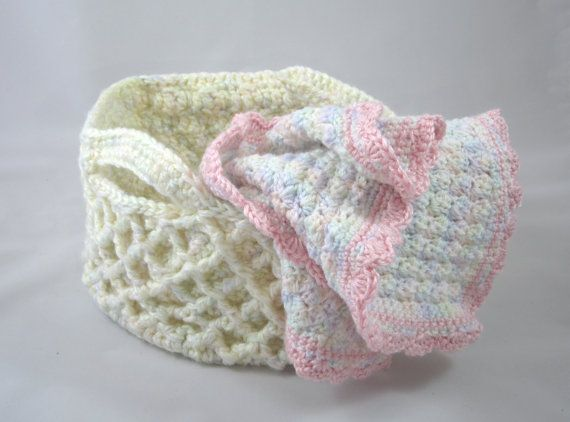 Crochet Baby Blanket and Foldable Basket Combo by TheSpaceNeedle